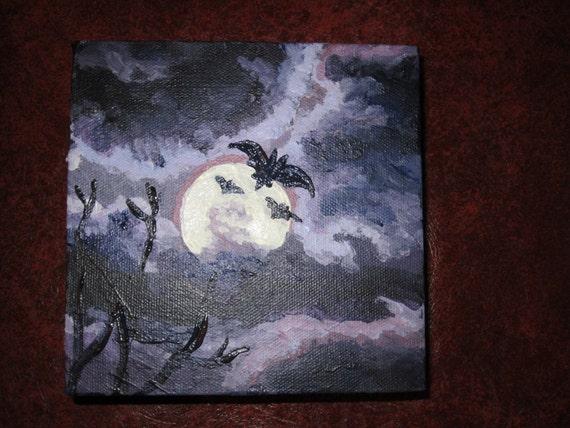 original painting, moon bats, acrylic