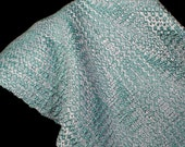 hand woven scarf in bamboo and cotton, aqua (00804)