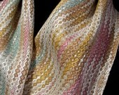 Woven Pastel Scarf, Hand Weaving, Spring Scarf, Handwoven