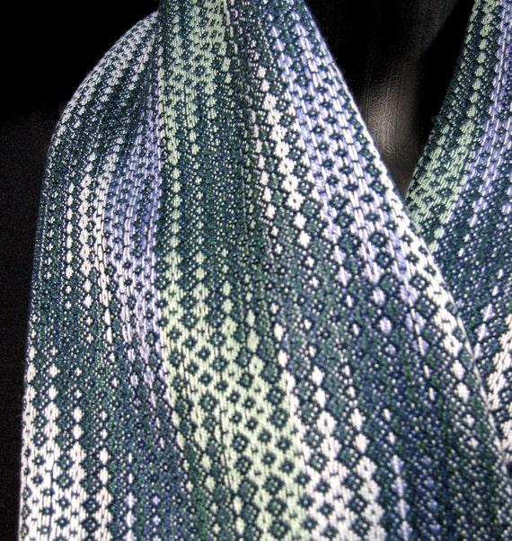 handwoven scarf silver blue green scarf loom weaving dark curvy waves gray lavendar bamboo cotton bold pattern hand woven