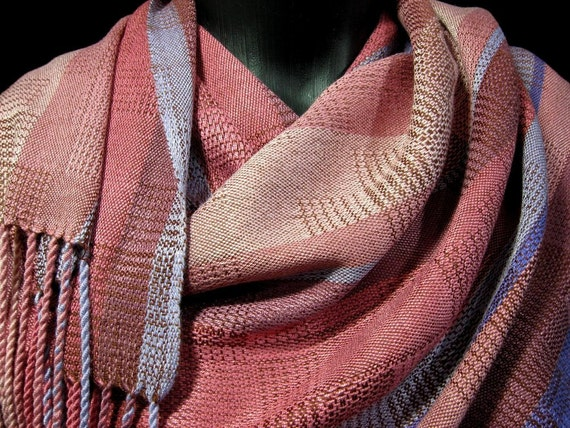 soft lightweight shawl, summer shawl, woven soy silk shawl bamboo soysilk wrap designed by Loom On The Lake (20416)