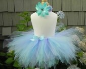 Mermaid Dreams Sewn Tutu with crochet headband and matching flower - all sizes up to 6 years - Fast Shipping