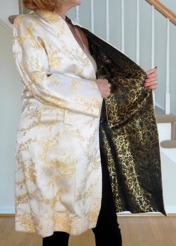 SALE  now 85.00  Asian Gold, Black and Yellow Reversible Embroidered Coat, L