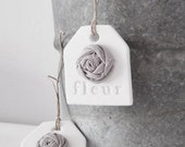 fleur handmade clay tags with gray linen rose - Set of 2