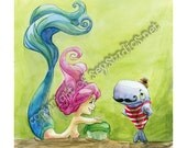 Victorian Whale and Mermaid 11x14 Print Signed