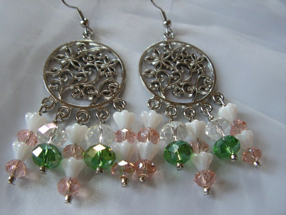 Clearance - Pink and Green Crystal Earrings Chandelier with White Luster Baby Bell Flowers
