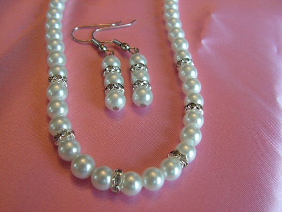 White Glass Pearl Necklace and Earring Set with Rhinestone Accents