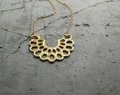 """Bright gold Necklace, half round shape and organic earthy handmade pattern - """"Zinnia Necklace"""""""