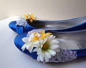 Blue Satin Flat Shoes Embellished with Blue Guipure and White Yellow Flowers (10) by cheerfulrosette