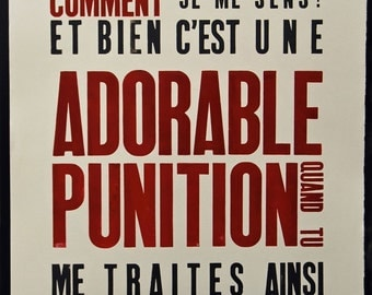 A1 Letterpress Poster - ADORABLE PUNITION - Limited Edition of 100