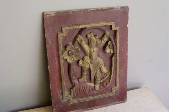 Antique Wood Wall Decor : Antique carved wooden panel wood wall art recycled by