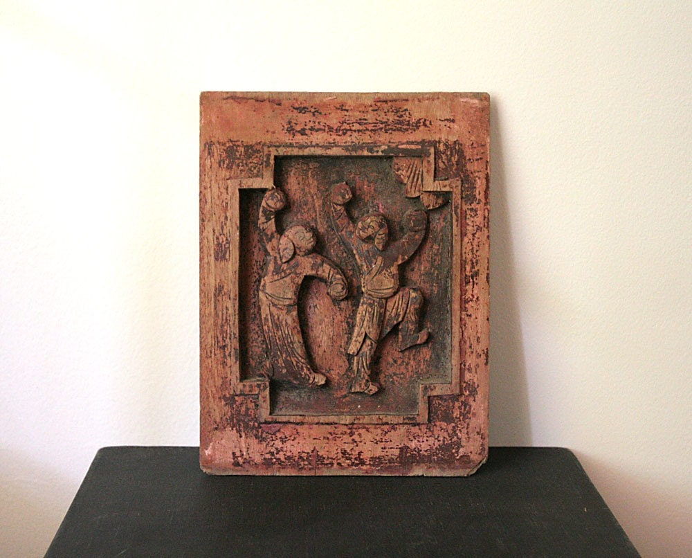 Vintage Hand Carved Wood Plaque Board Decorative By