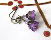 Vintage Style Lucite Flowers Earrings - Purple Bell for Bridesmaids