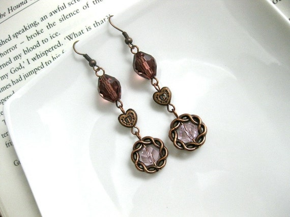 Clearance SALE Vintage Violet and Pink Beaded copper earrings