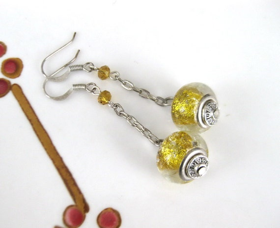 Gold Pandora Lampwork Glass earrings