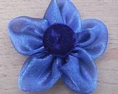 Five Petal Fabric Flower - Blue Organza with Blue Velvet Center