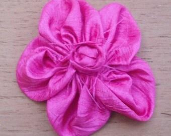 Five Petal Fabric Flower - Hot Pink Taffeta with Rosette Center
