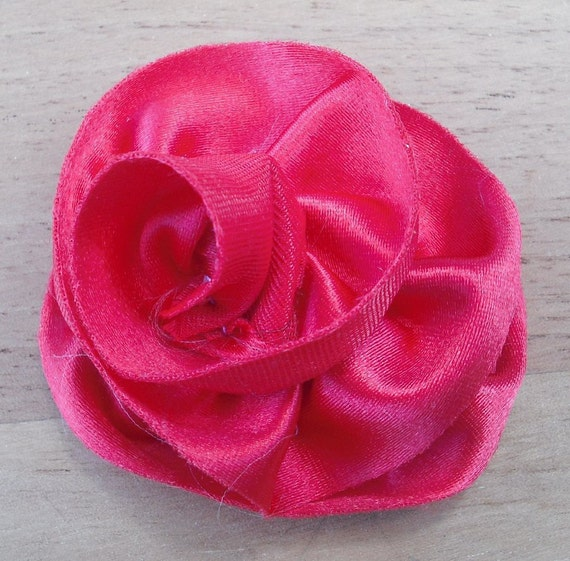 Red Lined Satin Raw Edge Flower