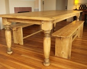 Farmhouse Table with Hand Turned Legs - Reclaimed wood