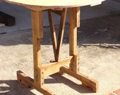 """31"""" round tilt top wine table - end table or breakfest nook table - recycled wood"""