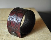 Scales Tooled Leather Carved Cuff - Mahogany Handmade