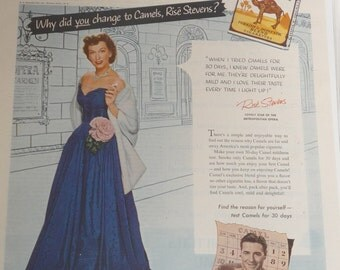 Vintage Camel Cigarette Celebrity Ad 1953 Rise Stevens