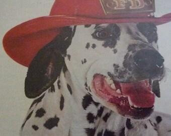 Dalmatian Firetruck Friskies Dog Food Ad 1962