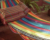 Hammocks, Turquoise Double Hammock hand-woven Natural Cotton, Simple Fringe