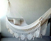 White Double Hammock hand-woven Natural Cotton