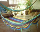 Single Hammock hand-woven Natural Cotton Special Fringe, Symmetric Color Combination