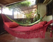 Magic Red Magic Hammock, Hand Woven Natural Cotton with Bell Fringe Crochet