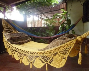 Magic Yellow Magic Hammock, Hand Woven Natural Cotton with Special Fringe