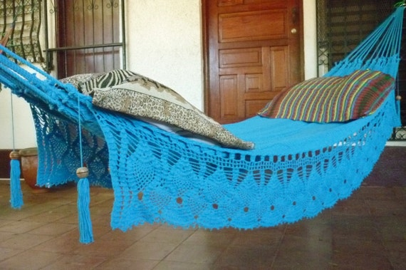 Turquoise Double Hammock hand-woven Natural Cotton with Bell Fringe Crochet