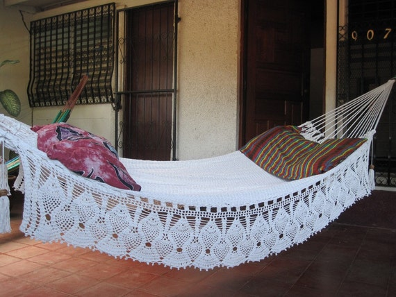 Beige Double Hammock hand-woven Natural Cotton with Bell Fringe Crochet
