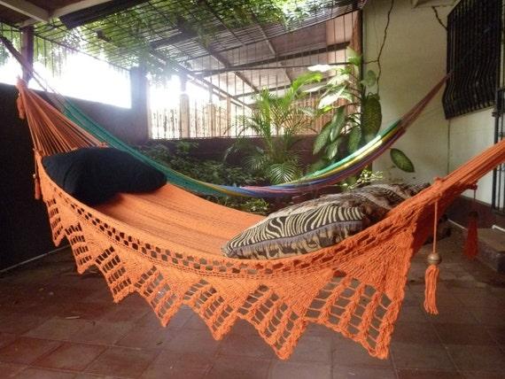 One Color Single Hammock Hand-Woven Natural Cotton Triangle Fringe