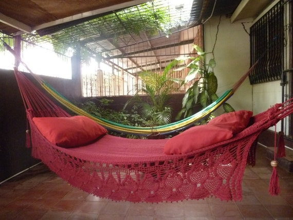 Magic Red Wine Hammock, Hand Woven Natural Cotton with Bell Fringe Crochet