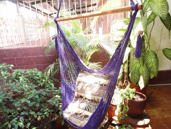 Purple Sitting Hammock, Hanging Chair Natural Cotton and Wood