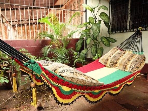 Rastafari Colors Two, Single Hammock hand-woven Natural Cotton Simple Fringe