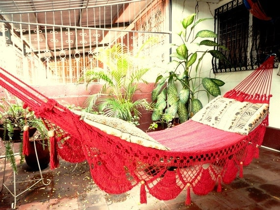 Red Hammock, Hand Woven Natural Cotton with Special Fringe - Red Hammock Hand Woven Natural Cotton With Special Fringe