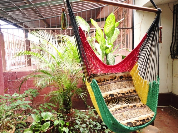 Red Yellow and Green Rasta Sitting Hammock, Hanging Chair Natural Cotton and Wood