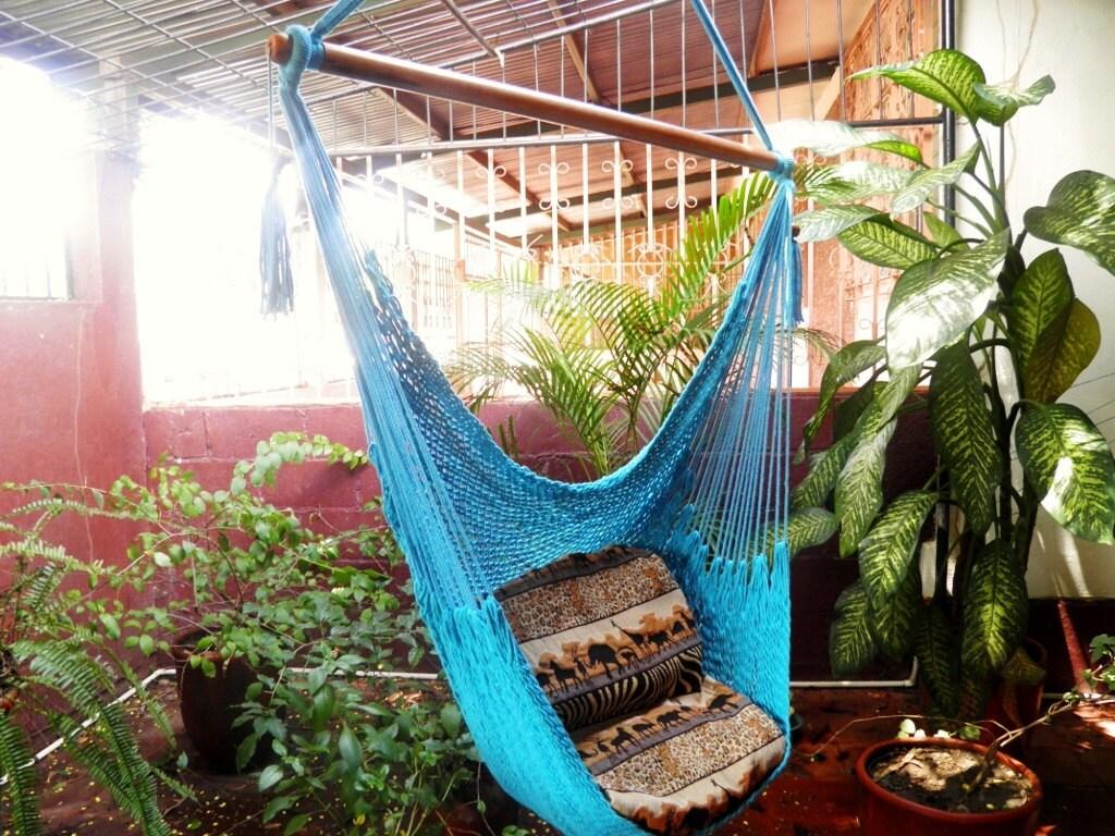 Bleu Turquoise magnifique chaise hamac fait main en coton