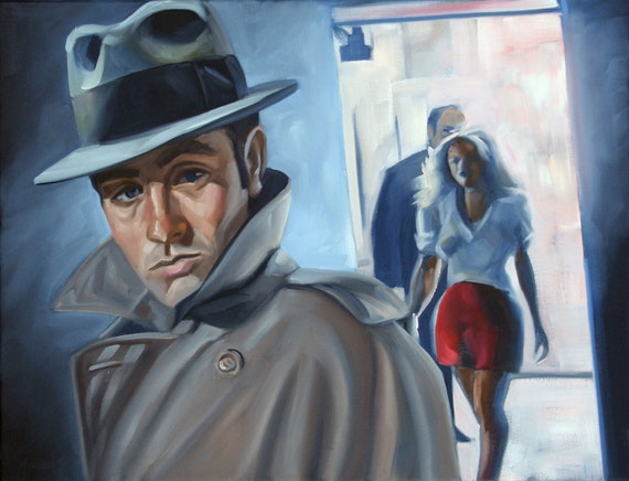 Remain in Light 18x24 oil on canvas film noir style painting by Kenney Mencher