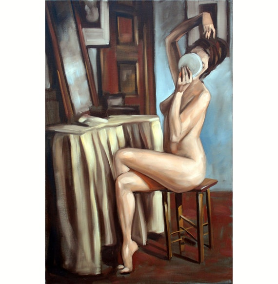 Vanitas nude figure study 30x20 oil on canvas by Kenney Mencher