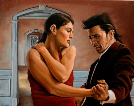 Archways oil on canvas tango dance painting 24x30 inches by Kenney Mencher