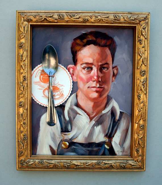 """J.R. Varsity, 10""""x8"""" oilpaint, spoon, coffee coaster, on masonite panel in in vintage frame by Kenney Mencher"""