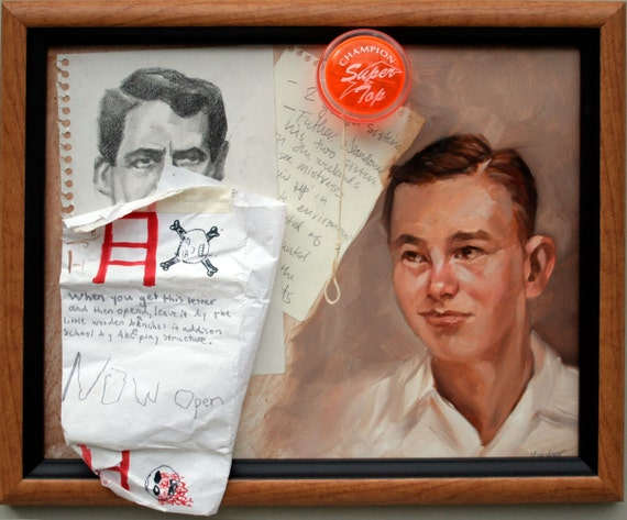 """A book and a painting. """"Bob N. Frapples""""  11""""x14"""" framed oil and mixed media Kenney Mencher with signed book."""