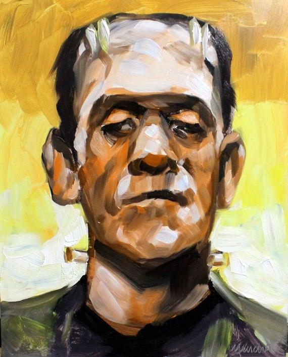 """Frankenstein, oil paint masonite panel 10""""x8"""" by Kenney Mencher"""