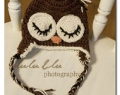 Owl Earflap Beanie Custom Size, Custom Colors FREE SHIPPING in the US
