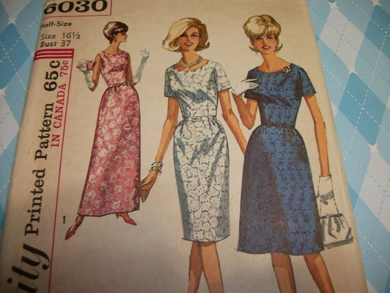 Unused Vintage 1960s Womens Dress Short or Evening Length scalloped neckline Sewing Pattern Size 16 Half bust 37 6030