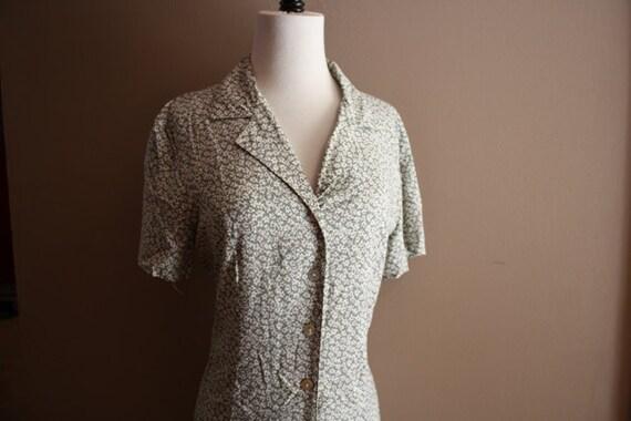 Vintage Dress Soft Green White Flower Print Sun Dress Summer Dress